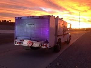 hazmat truck at dawn
