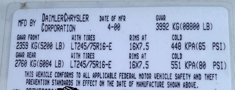 chysler gvwr sticker