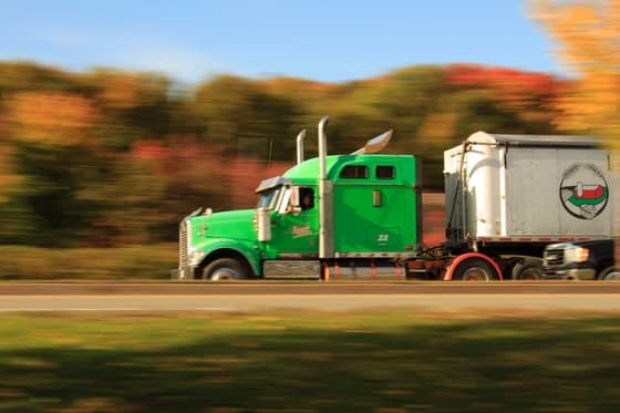 green truck on highway