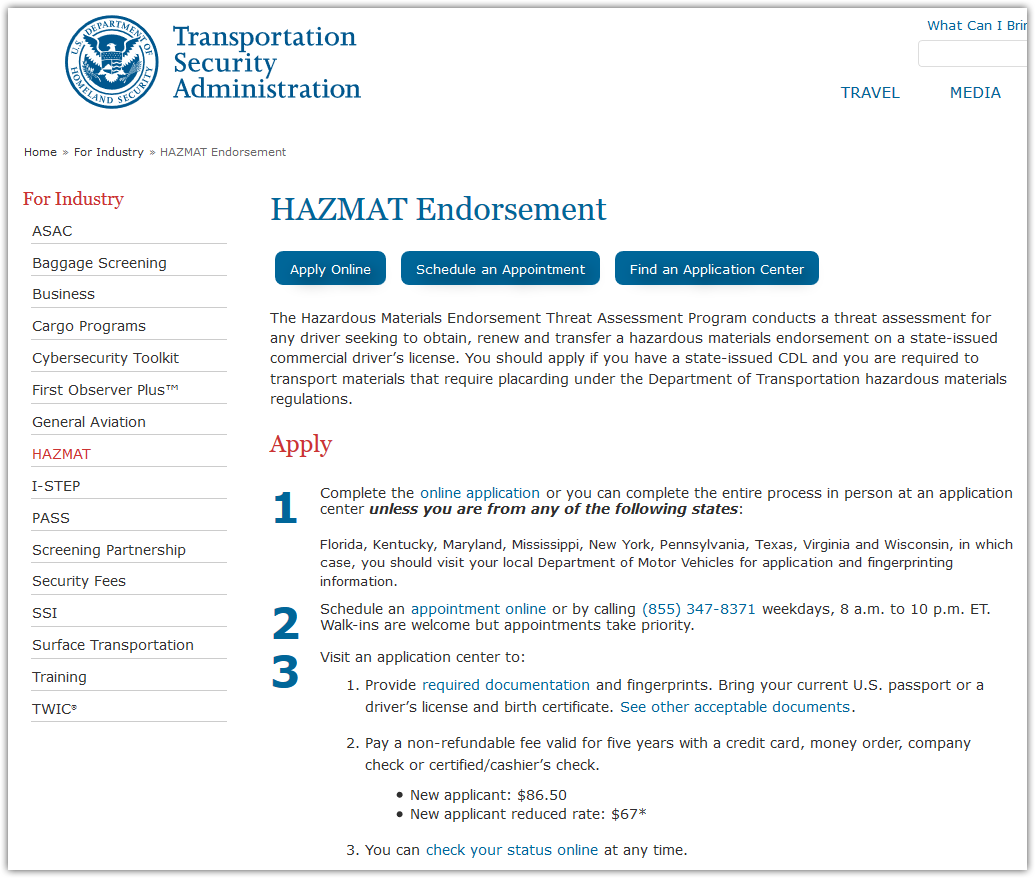 hazmat endorsement application