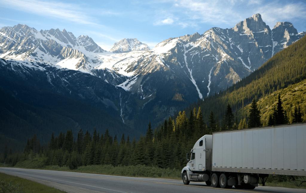 semi truck on mountain road